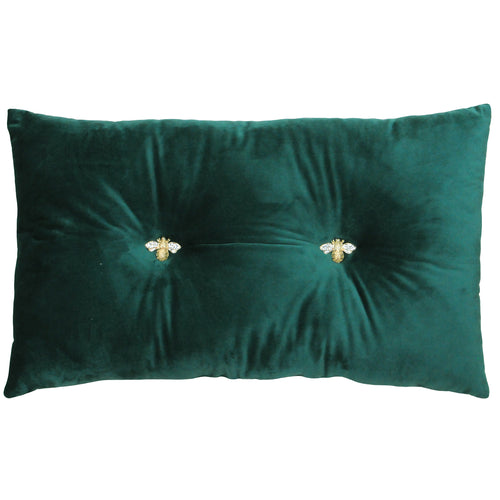 Image of the Bumble Velvet Ready Filled Cuhion | Emerald | Paoletti