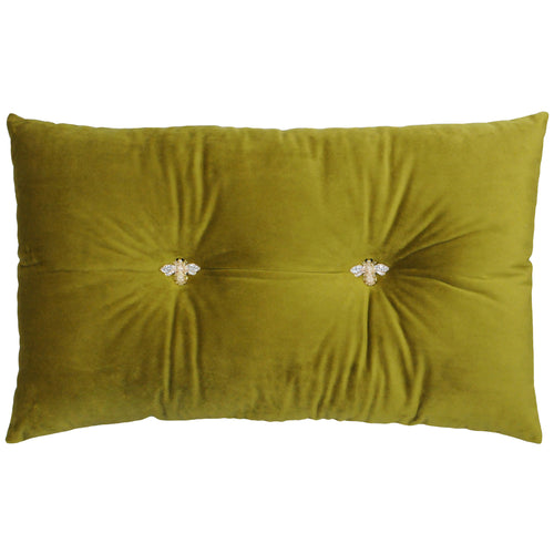 Image of the Bumble Velvet Ready Filled Cuhion | Olive | Paoletti