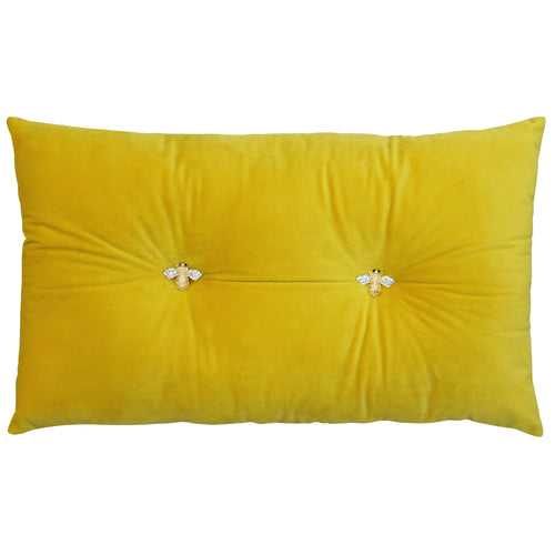 Image of the Bumble Velvet Ready Filled Cuhion | Yellow | Paoletti