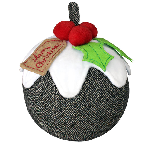 Image of the Christmas Pudding Herringbone Novelty Door Stop | Multicolour | Essentials