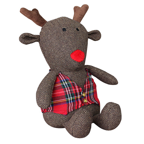 Image of the Rudolph Reindeer Herringbone Novelty Door Stop | Brown | Essentials