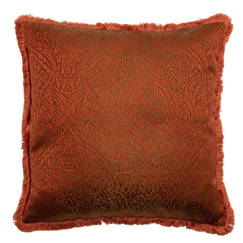 Image of the Coco Jacquard Fringed Cuhion Cover | Paprika | Paoletti