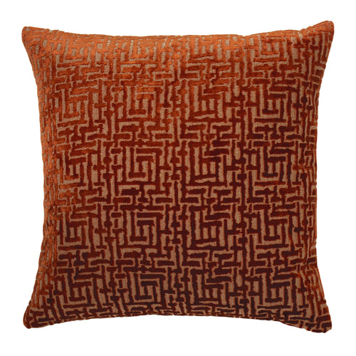 Image of the Delphi Velvet Jacquard Cuhion Cover | Rust | Paoletti