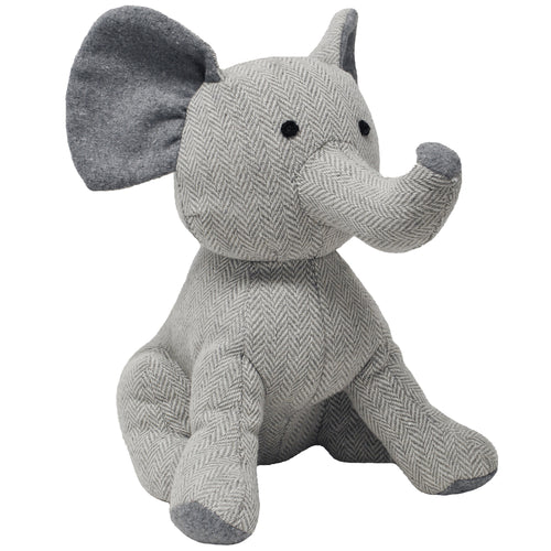 Image of the Elephant Herringbone Novelty Door Stop | Grey | Essentials