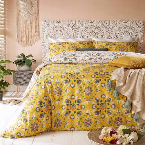Image of the Folk Flora Floral Duvet Cover Set | Ochre | furn.