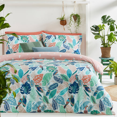 Image of the Guava Tropical Leaf Duvet Cover Set | Green/Pink | furn.