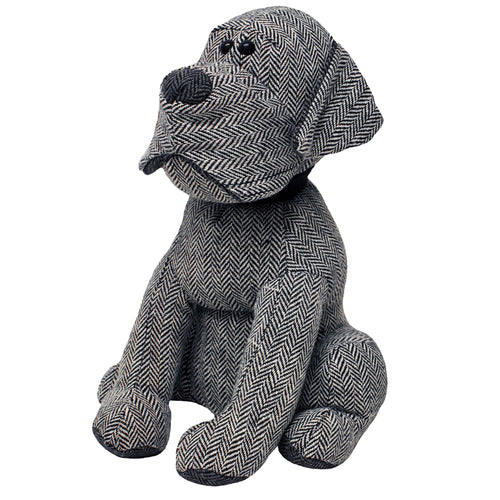 Image of the Herringbone Dog Novelty Door Stop | Grey | Essentials