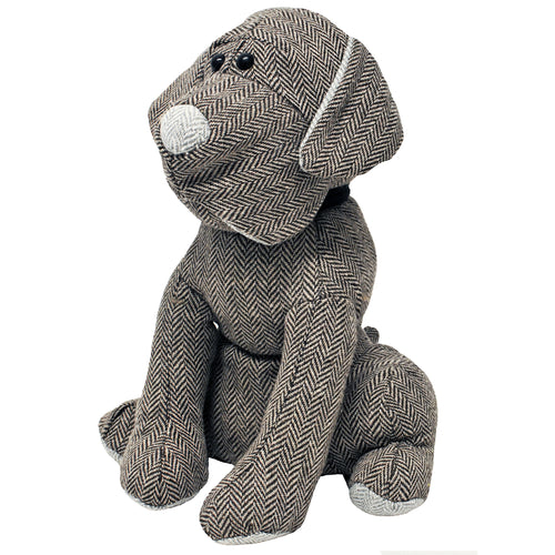 Image of the Herringbone Dog Novelty Door Stop | Mocha | Essentials