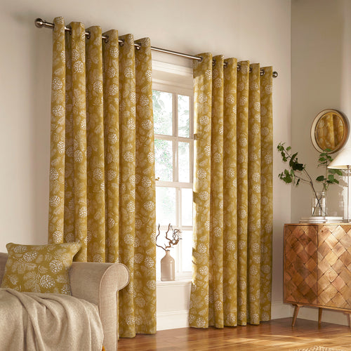 Image of the Irwin Woodland Eyelet Curtain | Mustard | furn.