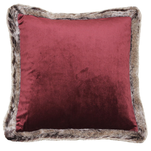 Image of the Kiruna Faux Fur Trim Cuhion Cover | Cranberry | Paoletti