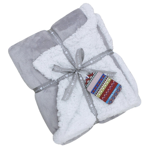 Image of the Lux Sherpa Fleece Throw | Grey | Essentials