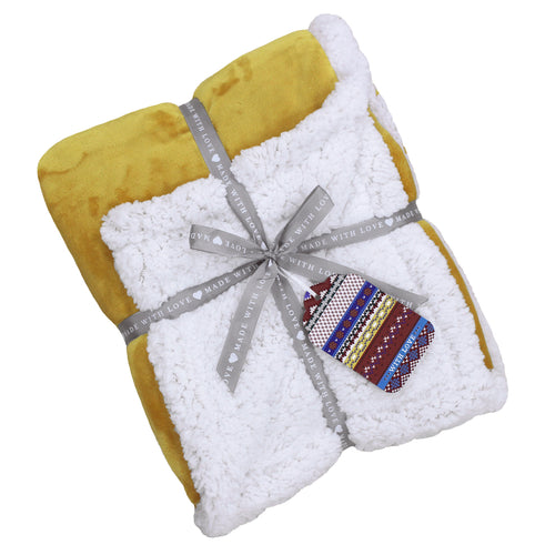 Image of the Lux Sherpa Fleece Throw | Ochre | Essentials