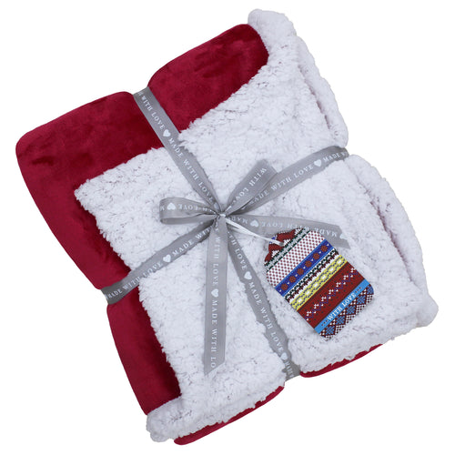 Image of the Lux Sherpa Fleece Throw | Red | Essentials