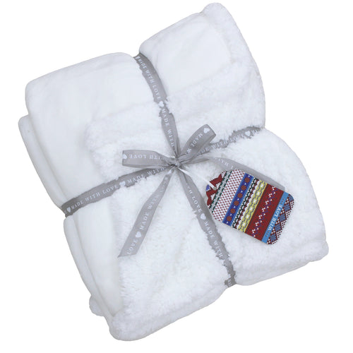Image of the Lux Sherpa Fleece Throw | White | Essentials