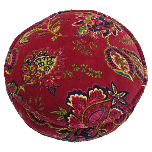Image of the Malisa Paisley Round Cuhion Cover | Pomegranate | Paoletti