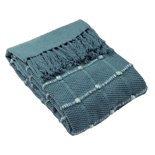 Image of the Motti Woven Tufted Stripe Throw | Blue | furn.