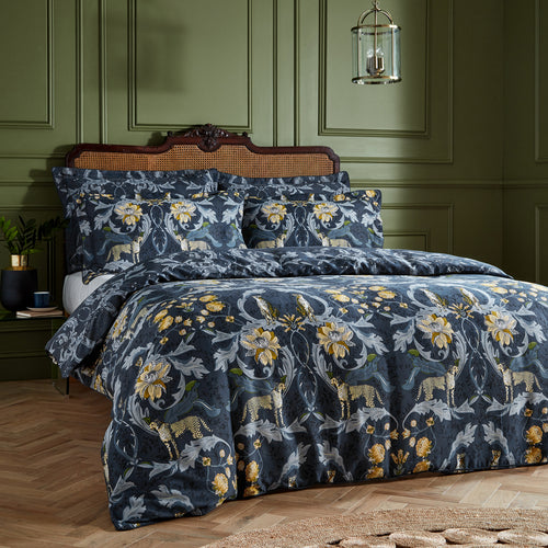 Image of the Nouvilla Cheetah Floral Duvet Cover Set | Blue | Paoletti