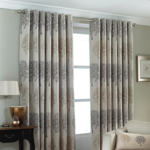 Image of the Oakdale Tree Motif Eyelet Curtain | Silver | Paoletti
