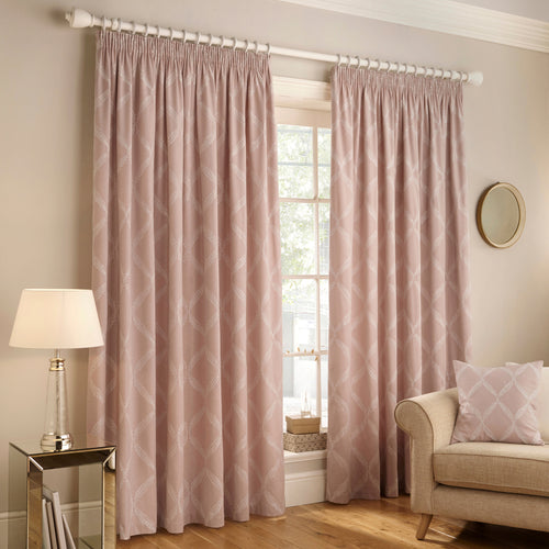 Image of the Olivia Lattice Embroidered Pencil Pleat Curtain | Blush | Paoletti