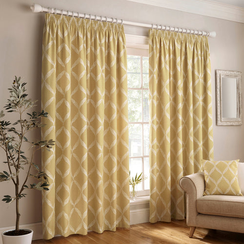 Image of the Olivia Lattice Embroidered Pencil Pleat Curtain | Citron | Paoletti