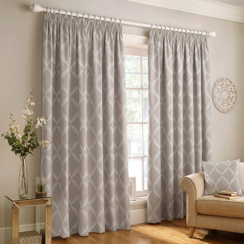 Image of the Olivia Lattice Embroidered Pencil Pleat Curtain | Grey | Paoletti