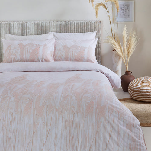 Image of the Pampas Washed Cotton Duvet Cover Set | Blush | The Linen Yard