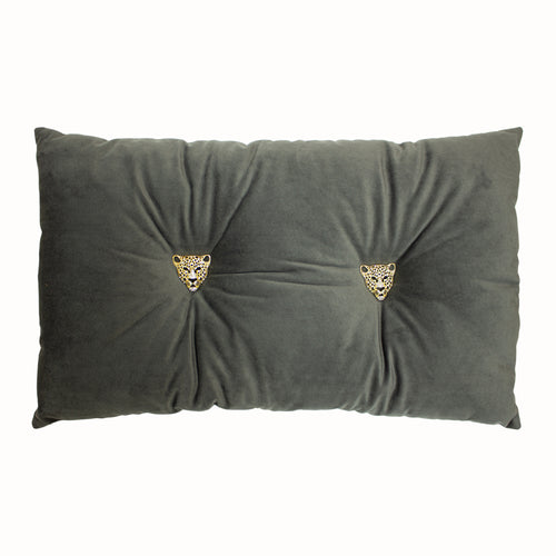 Image of the Panther Velvet Ready Filled Cuhion | Dark Grey | Paoletti
