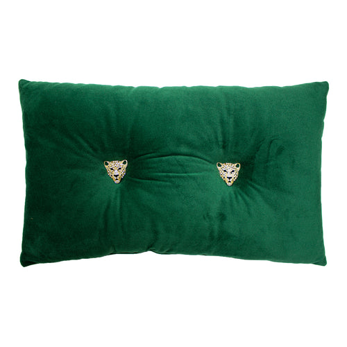 Image of the Panther Velvet Ready Filled Cuhion | Emerald | Paoletti