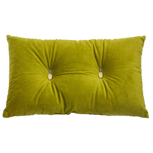 Image of the Pineapple Velvet Ready Filled Cuhion | Olive Green | Paoletti