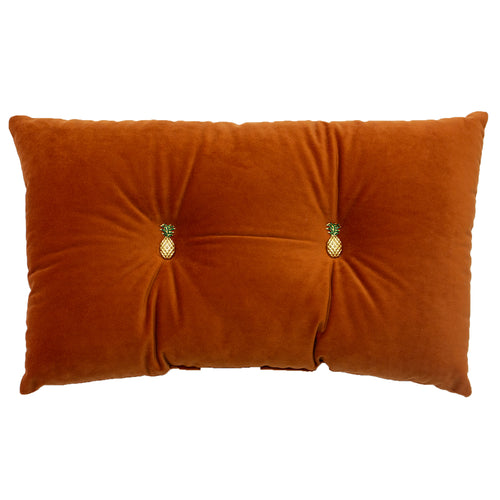 Image of the Pineapple Velvet Ready Filled Cuhion | Rust Orange | Paoletti