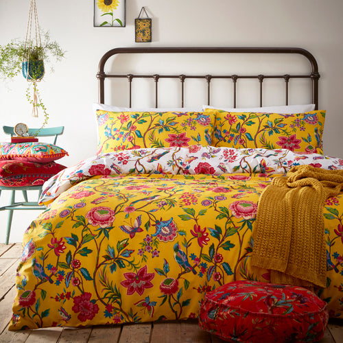 Image of the Pomelo Tropical Floral Duvet Cover Set | Yellow | furn.