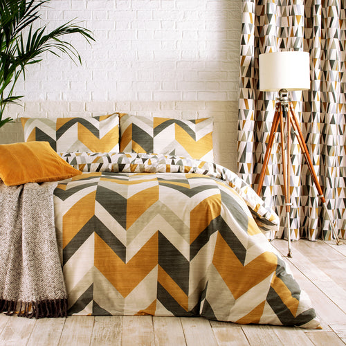 Image of the Renovate Geometric Tiled Duvet Cover Set | Charcoal/Gold | furn.