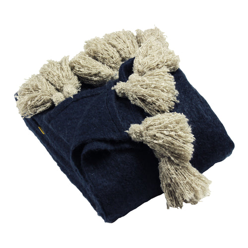 Image of the Romilly Tasselled Throw | Navy/Natural | furn.