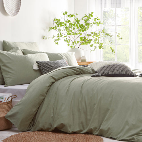 Image of the Stonehouse Linen Look Duvet Cover Set | Sage | The Linen Yard
