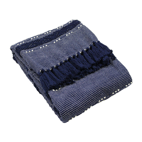 Image of the Sundown Woven Tufted Stripe Throw | Navy | furn.