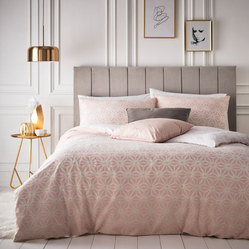 Image of the Tessellate Geometric Duvet Cover Set | Blush/Gold | furn.