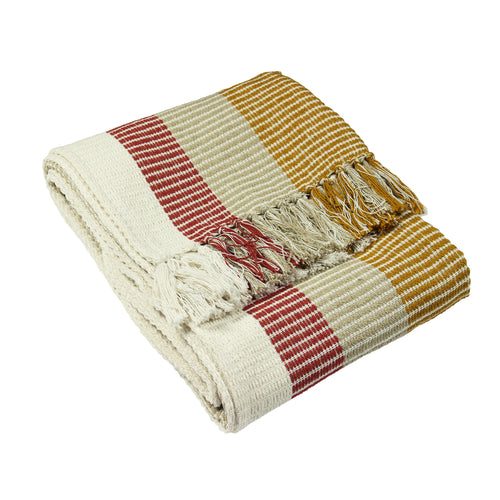 Image of the Tulsa Striped Throw | Red/Ochre | furn.