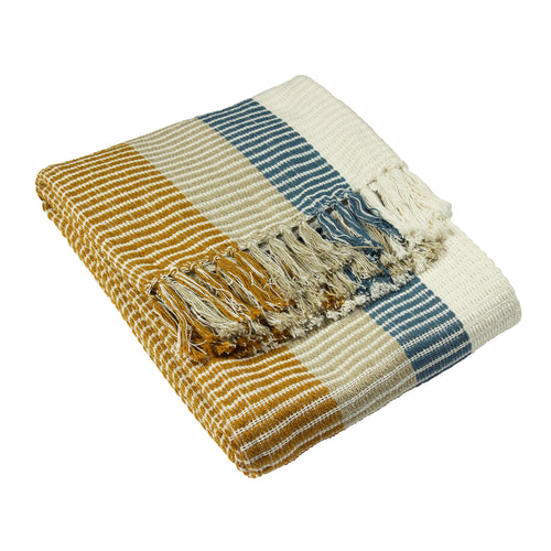 Image of the Tulsa Striped Throw | Teal/Ochre | furn.