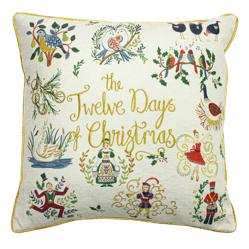 Image of the 12 Days of Xmas Embroidered Cuhion Cover | Multicolour | furn.