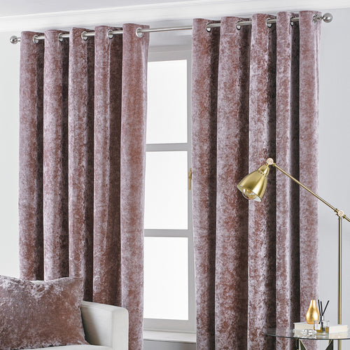 Image of the Verona Crushed Velvet Eyelet Curtain | Blush | Paoletti
