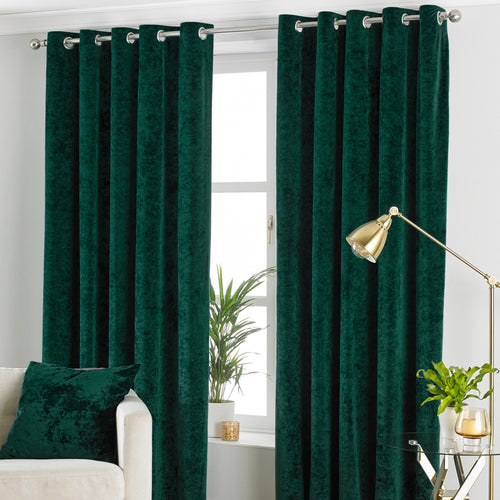 Image of the Verona Crushed Velvet Eyelet Curtain | Emerald | Paoletti