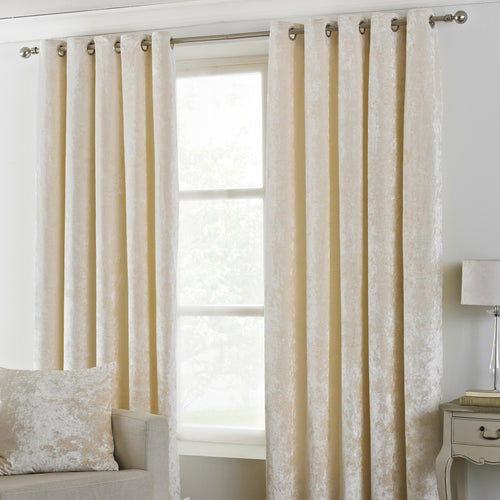 Image of the Verona Crushed Velvet Eyelet Curtain | Ivory | Paoletti
