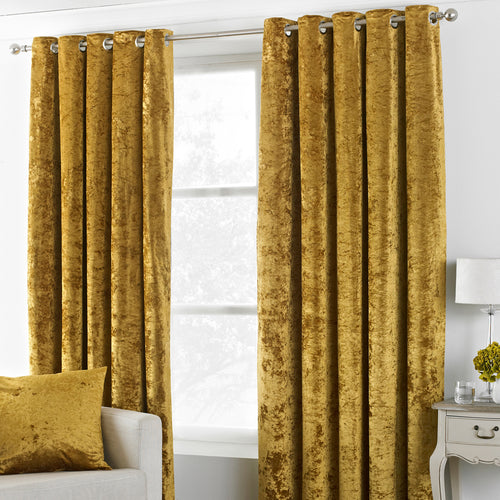 Image of the Verona Crushed Velvet Eyelet Curtain | Ochre | Paoletti