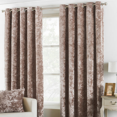 Image of the Verona Crushed Velvet Eyelet Curtain | Oyster | Paoletti