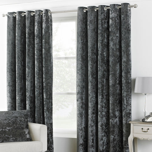Image of the Verona Crushed Velvet Eyelet Curtain | Pewter | Paoletti