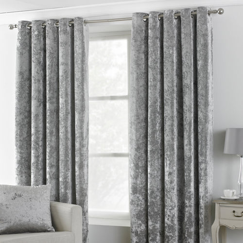 Image of the Verona Crushed Velvet Eyelet Curtain | Silver | Paoletti