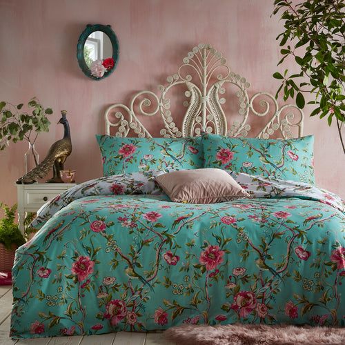 Image of the Vintage Chinoiserie Floral Exotic Duvet Cover Set | Jade | furn.