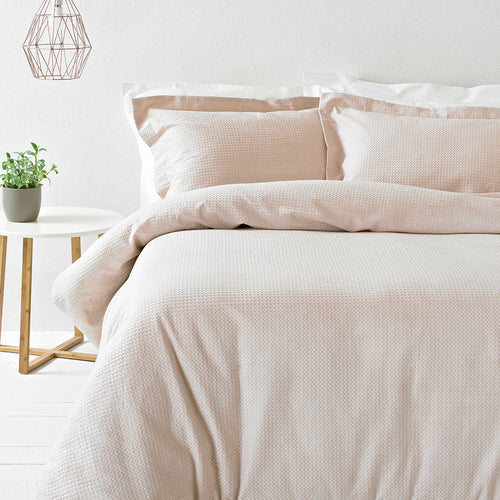 Image of the Waffle Textured Duvet Cover Set | Blush | The Linen Yard