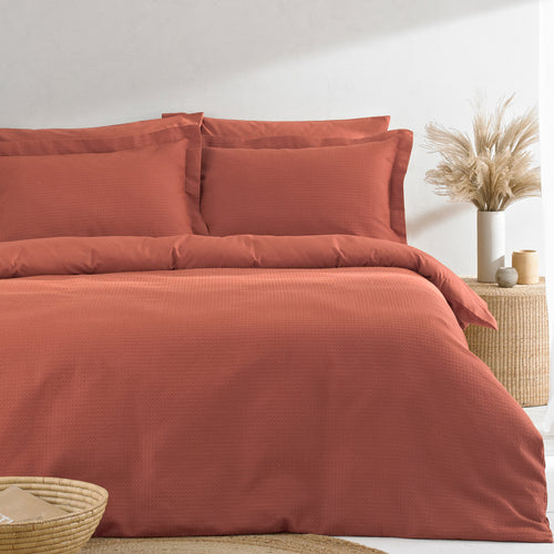 Image of the Waffle Textured Duvet Cover Set | Red Clay | The Linen Yard