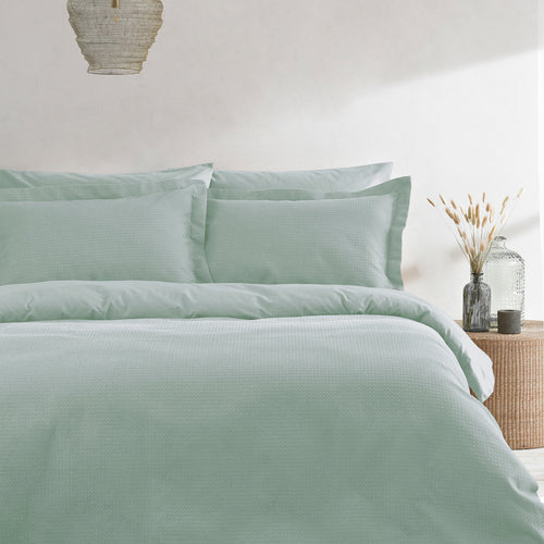 Image of the Waffle Textured Duvet Cover Set | Seafoam | The Linen Yard